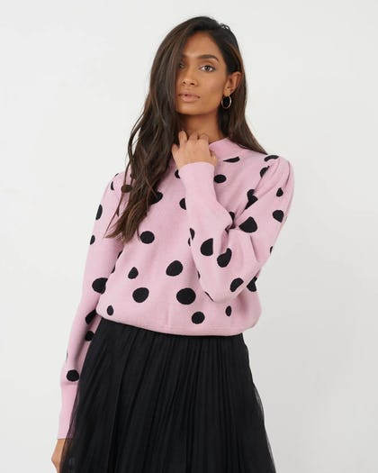 Pink and Black Polkadot Knitted Jumper