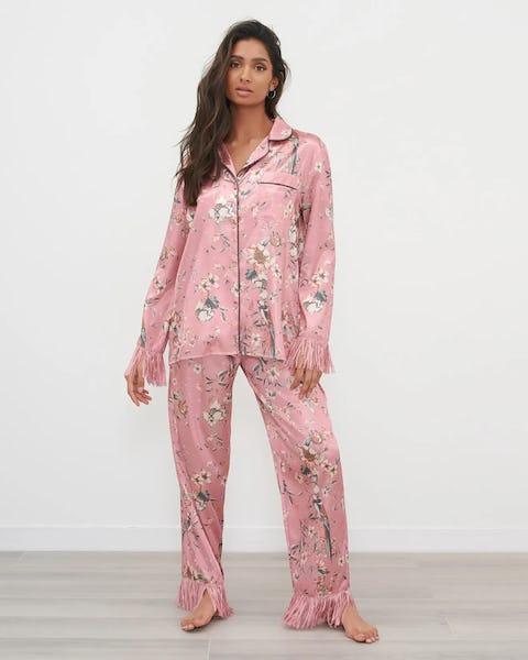 Coral Floral Fringe Satin Pyjama