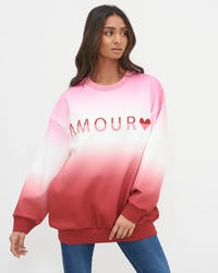 Pink Dip Dye Embroidered Amour Jumper