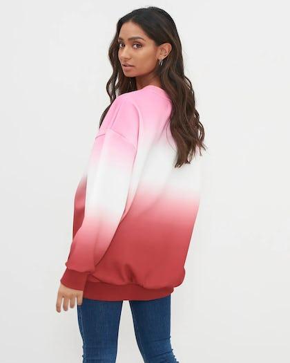 Pink Dip Dye Embroidered Slogan Jumper