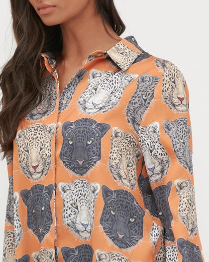 Orange Tiger Print Button Up Blouse
