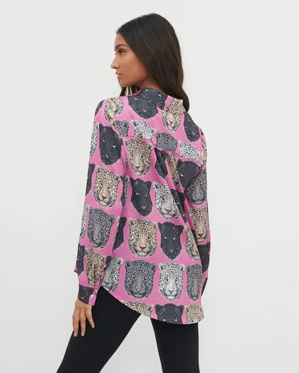 Pink Tiger Print Button Up Blouse