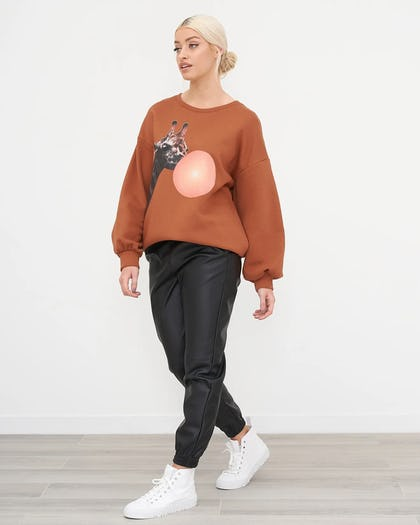 Camel Oversized Jumper With Graphic Animal Print
