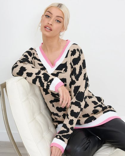 Animal Print Oversized Knitted Jumper