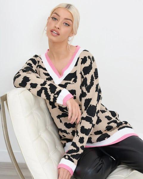 Animal Print Oversized Knitted Jumper