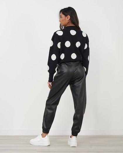 Black and White Polkadot Knitted Jumper