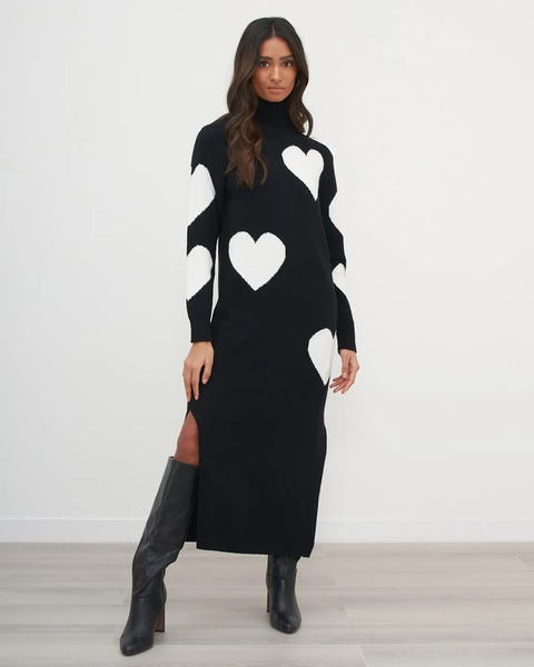 Black White Heart Print Oversized Knit Dress