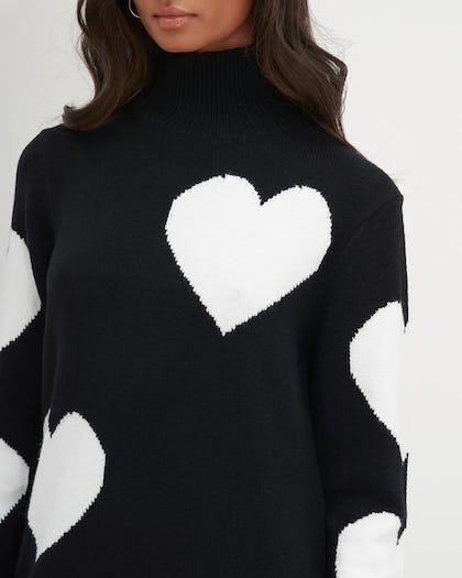 Black White Heart Print Oversized Knit Dress