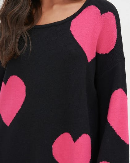 Black & Pink Heart Print Oversized Knit Jumper