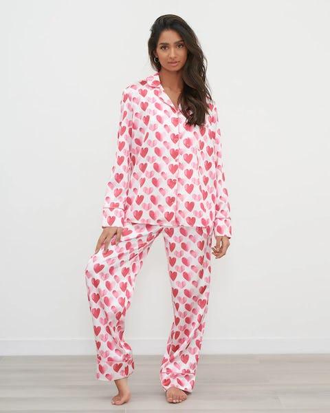 Pink Two Piece Heart Print Satin Pyjama Set