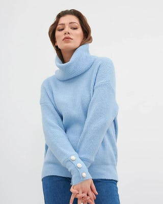 Blue Roll Neck Jumper