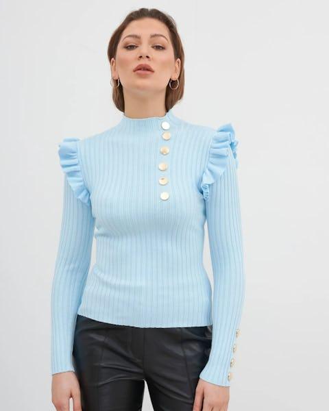 Blue Knit Ribbed Jumper