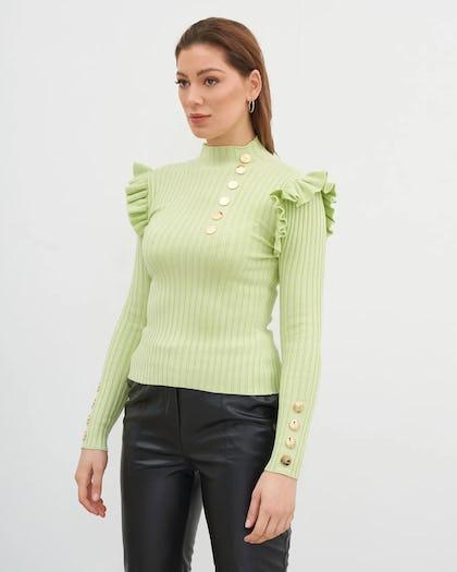 Green Knit Ribbed Jumper
