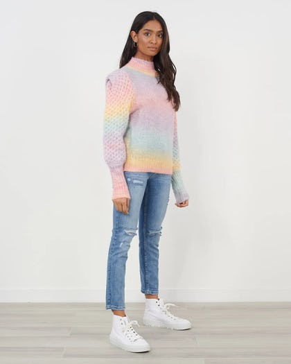 Multi Knitted Jumper With Puff Shoulder