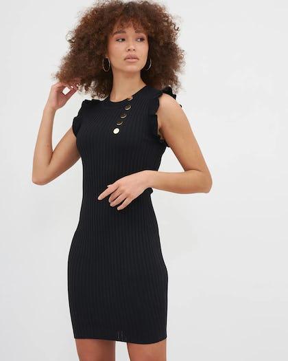 Black Military Button Ribbed Mini Dress