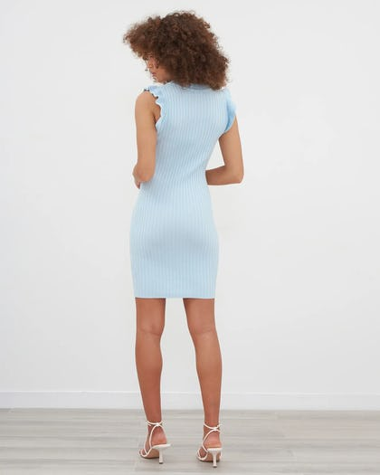 Blue Military Button Ribbed Mini Dress