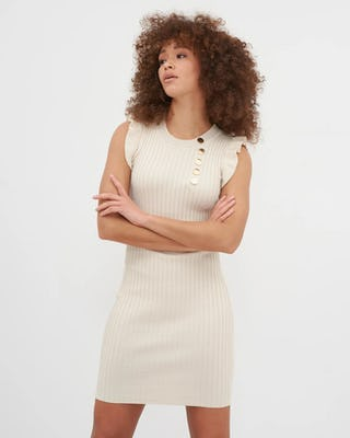 Beige Military Button Ribbed Midi Dress