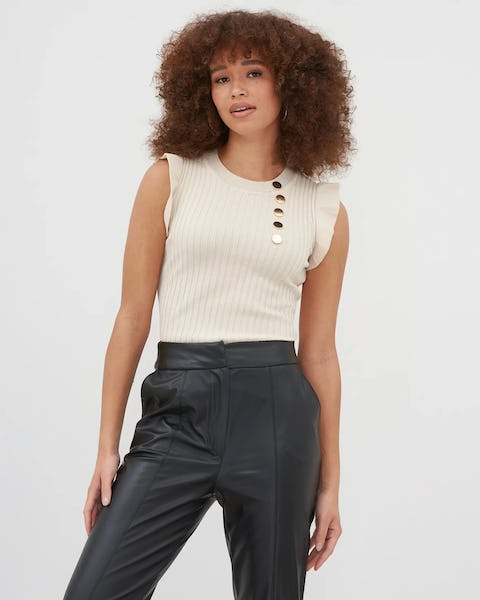 Beige Military Button Ribbed Sleeveless Top