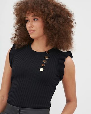 Black Military Button Ribbed Sleeveless Top
