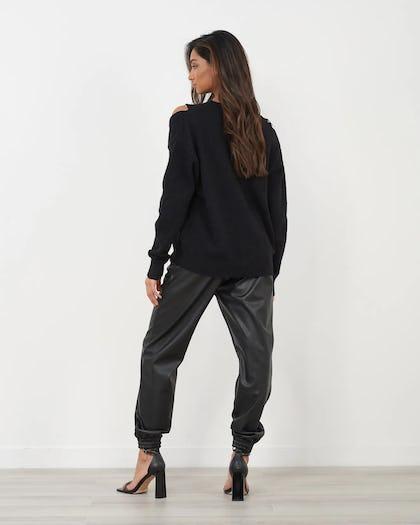 Black Knitted Jumper With Zip  Shoulder Detail