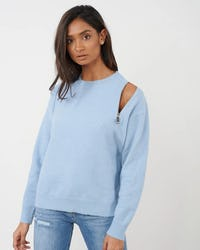 Blue Knitted Jumper With Zip  Shoulder Detail