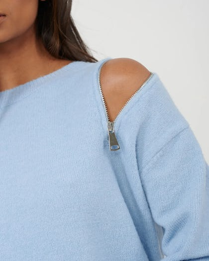 Blue Knitted Jumper With Zip  Shoulder Detail