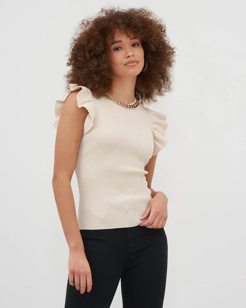 Beige Chain Ribbed Top Ruffle Detail