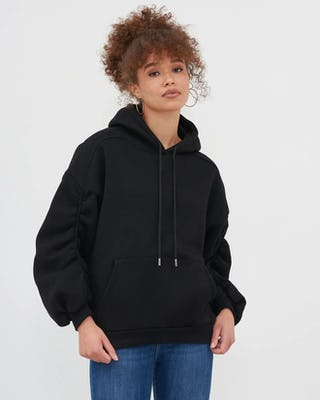 Black Ruched Sleeve Oversized Hoodie