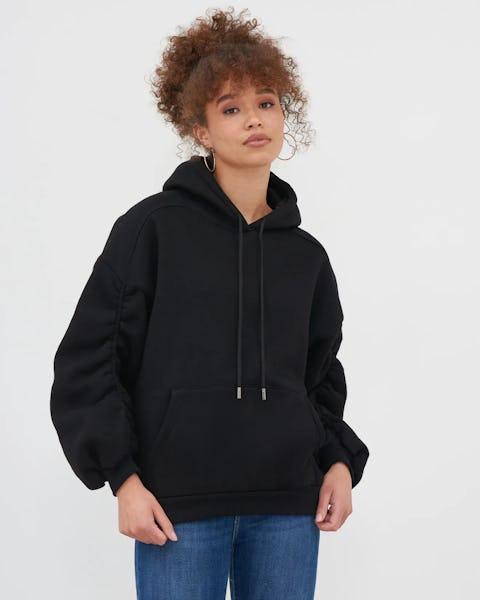 Beige Ruched Sleeve Oversized Hoodie