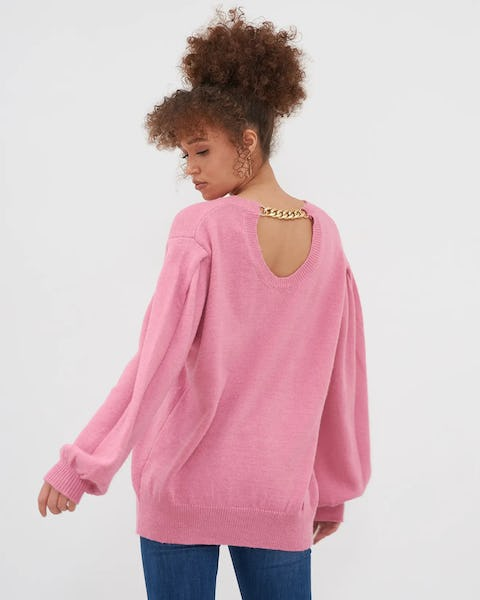 Cream Chain Back Detail Knitted Jumper