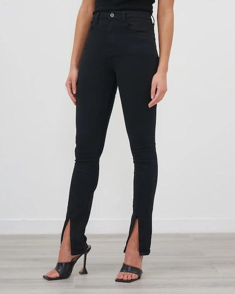 Black Denim Split Front Skinny Jeans