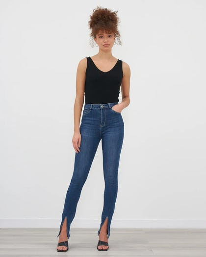 Blue Denim Split Front Skinny Jeans