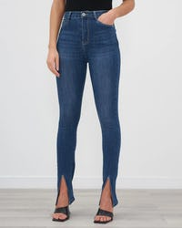 Blue Denim Split Front Skinny Jeans