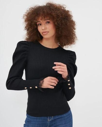 Black Puff Sleeve Button Detail Top
