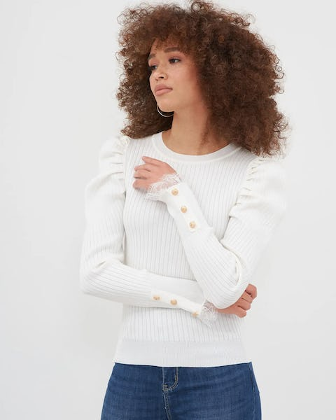 Pink Puff Sleeve Button Detail Top