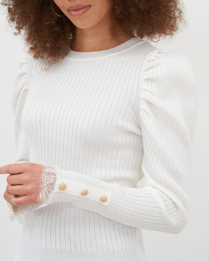 Ivory Puff Sleeve Button Detail Top