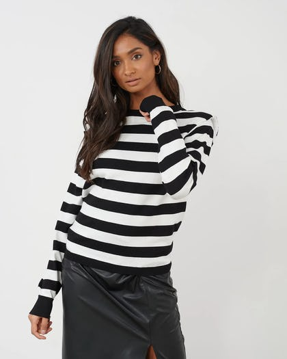 Black And White Stripe Jumper With Shoulder Pads
