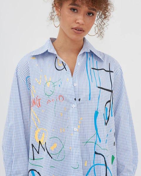 blue Stripe Paint Effect Oversized Shirt
