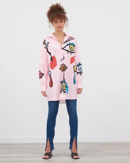 Pink Conversational Print Oversized Shirt