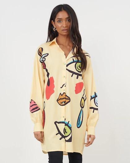 Yellow Conversational Print Oversized Shirt