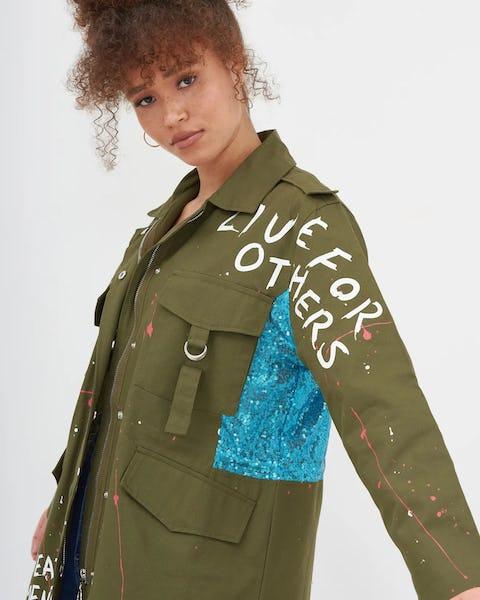 Khaki Slogan Raw Seam Utility Jacket