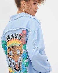 Khaki Denim Tiger Patch Denim Shirt