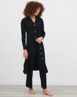 Black Knitted Midi Cardigan With Knitted Straight Leg Trouser Co-Ord