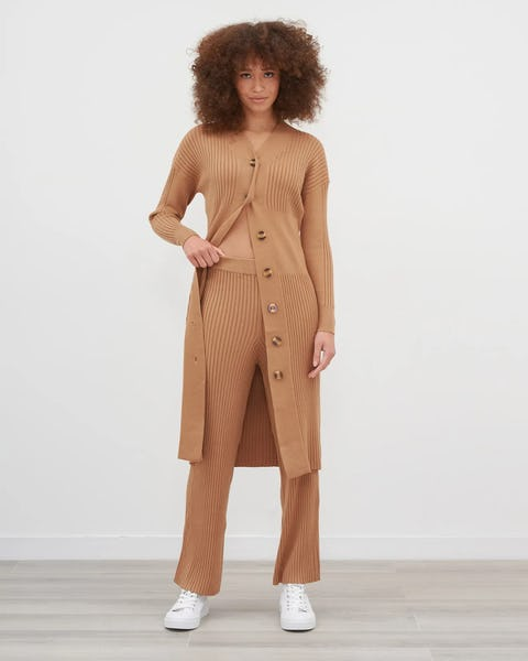 Beige Ribbed Midi Cardigan and Trouser Co-Ord