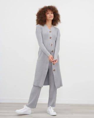Grey Knitted Midi Cardigan With Knitted Straight Leg Trouser Co-Ord