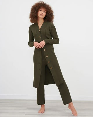 Khaki Knitted Midi Cardigan With Knitted Straight Leg Trouser Co-Ord