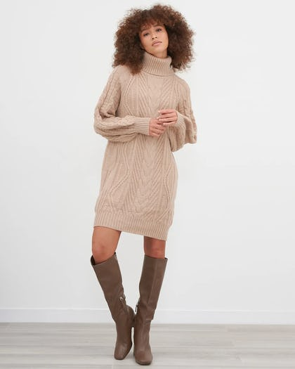 Camel Cable Knit Roll Neck Jumper Dress