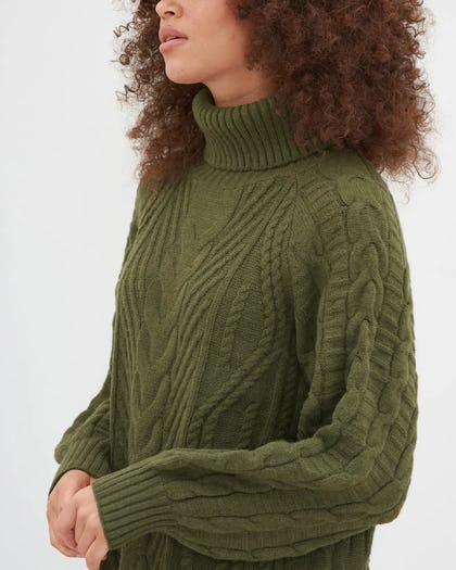 Khaki Cable Knit Roll Neck Jumper Dress