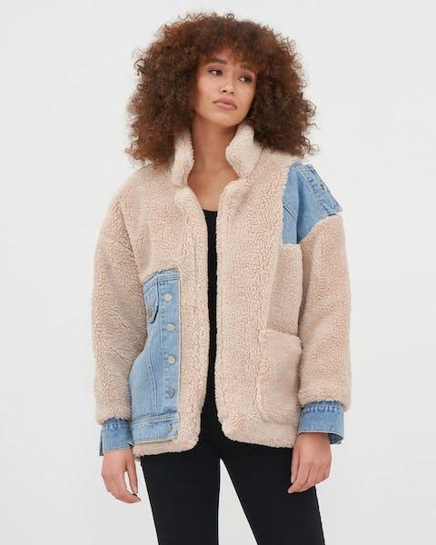 Teddy Denim Patchwork Oversized Jacket