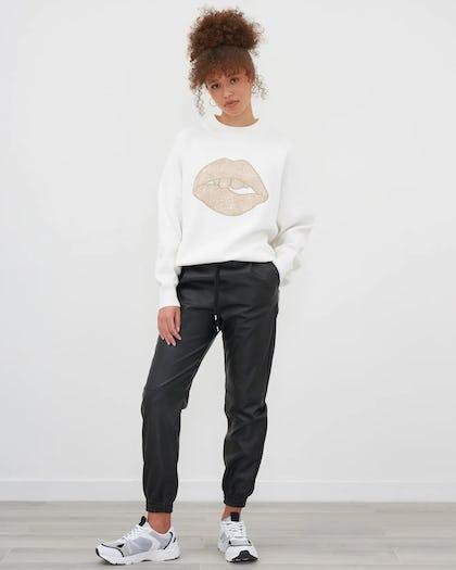 Ivory Lip Motif Knitted Jumper